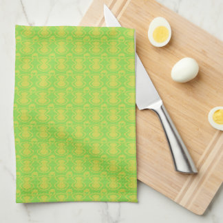 Gold on Green Abstract Pattern Towels