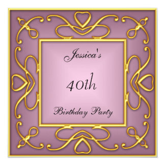 Gold on Pink Birtday Party Invitation