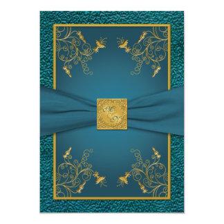 Gold on Teal Monogrammed Wedding Invitation