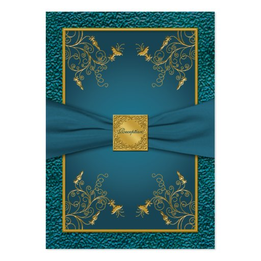 Gold on Teal Reception Card Business Card Template