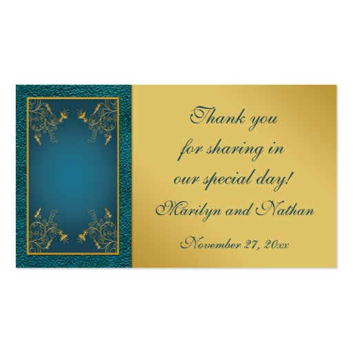 Gold on Teal Wedding Favor Tag Business Card Templates