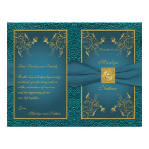Teal And Gold Wedding Program Gifts on Zazzle