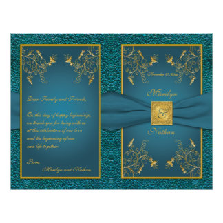 Gold on Teal Wedding Program