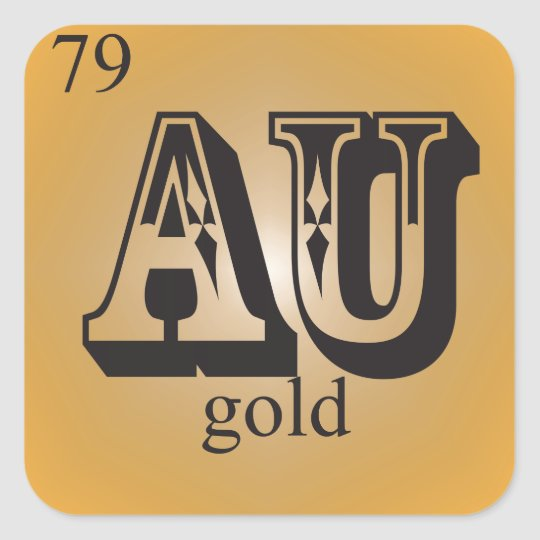 Gold on the periodic table square sticker zazzle gold on the periodic table square sticker urtaz Gallery