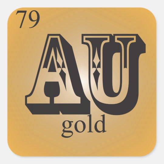 Gold On The Periodic Table Square Sticker Zazzle