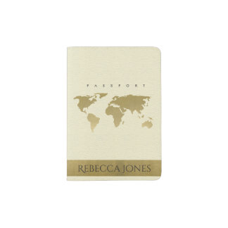 GOLD ON WHITE CREAM WORLD MAP LEATHER MONOGRAM PASSPORT HOLDER