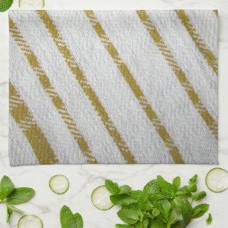 gold  on white diagonal stripes kitchen towel
