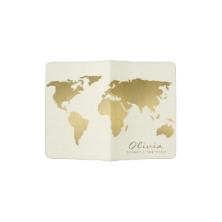 GOLD ON WHITE WORLD MAP MONOGRAM PASSPORT HOLDER