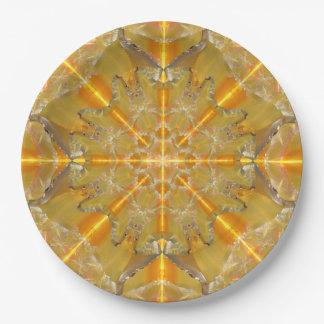 Gold Opal Star Mandala Paper Plate