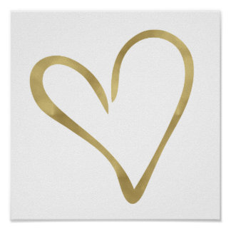 Gold Open Heart I Poster