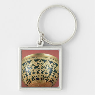Gold openwork for a varnished bowl Silver-Colored square keychain