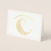 Gold or Silver Foil Thank You to the Moon and Back Foil Card