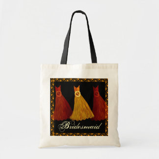 Gold Orange Black Bridesmaid Dresses Cotton Bags
