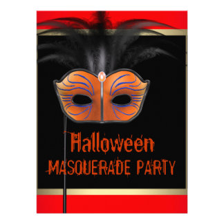 Gold Orange Black Halloween Masquerade Party Custom Invitations