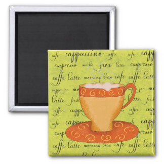 Gold Orange Coffee Art on Lime Green Script Words 2 Inch Square Magnet