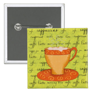 Gold Orange Coffee Art on Lime Green Script Words Button