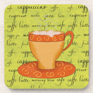 Gold Orange Coffee Art on Lime Green Script Words Drink Coaster