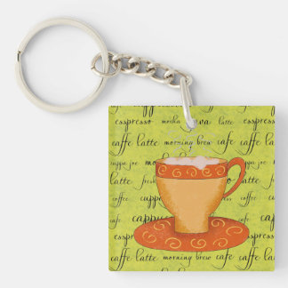 Gold Orange Coffee Art on Lime Green Script Words Keychain