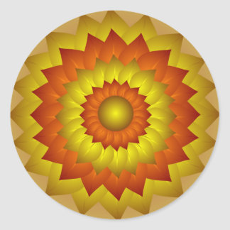 Gold Orange Flower Art Sticker