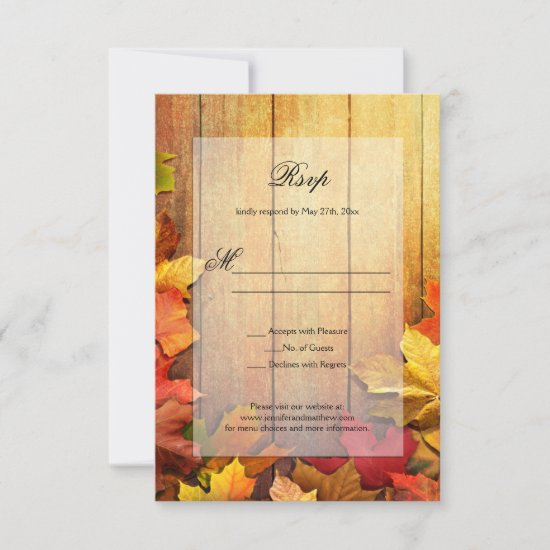 Gold Orange Green Autumn Fall Leaves RSVP |