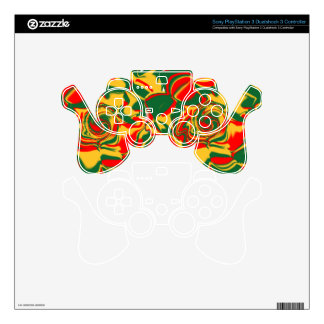 Gold/Orange/Green Psychedelic PS3 Control Skin PS3 Controller Decals