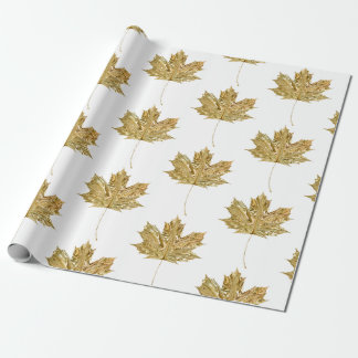 Gold Orange MAPLE LEAF Birthday Wedding Party Wrapping Paper