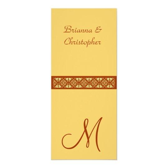 Gold & Orange Monogram Lace Wedding Invitation