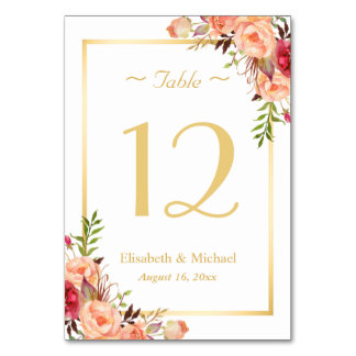 Gold Orange Rose Floral Chic Wedding Table Number