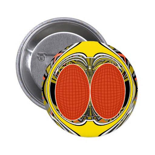 Gold orange superfly design 2 inch round button