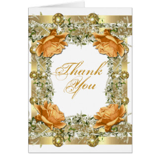 "Gold orange ""thank you"" wedding engagement card"