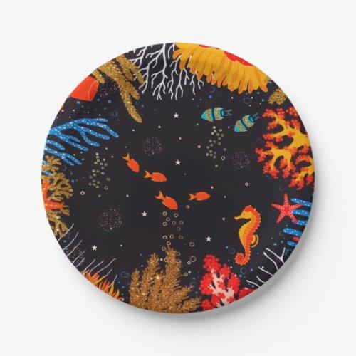 Gold Orange Tropical Summer Ocean Underwater Paper Plate