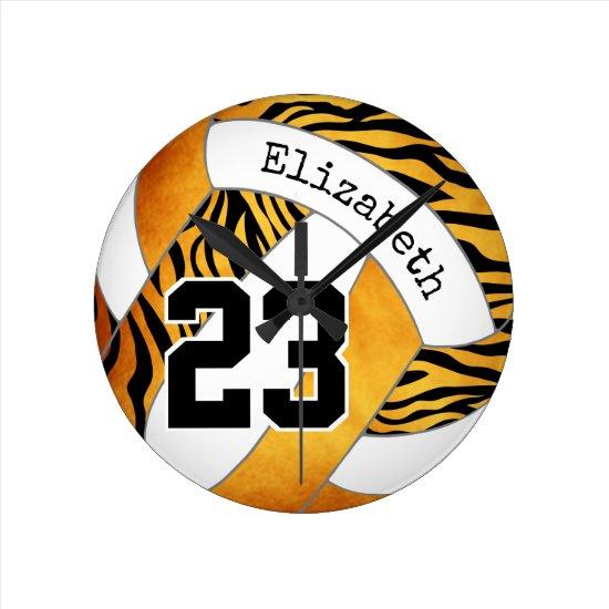 gold orange w zebra pattern custom volleyball round clock