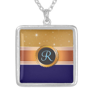 Gold Orb Stars Sapphire Blue Monogram Silver Plated Necklace