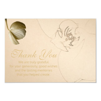 Gold Orchid Thank You Cards