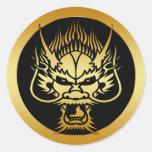 GOLD ORIENTAL DRAGON HEAD CLASSIC ROUND STICKER
