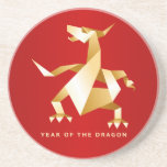 Gold Origami Year of the Dragon on Red 2012 Beverage Coasters