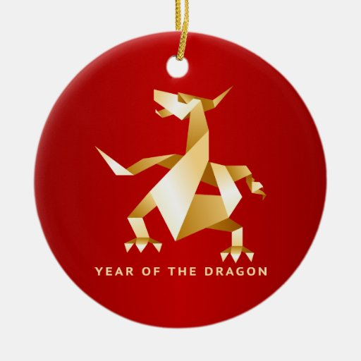 Gold Origami Year of the Dragon on Red 2012 Double-Sided Ceramic Round Christmas Ornament