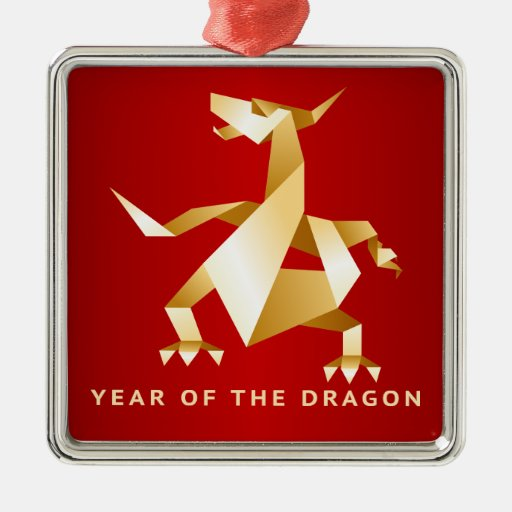 Gold Origami Year of the Dragon on Red 2012 Ornament
