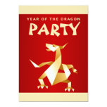 Gold Origami Year of the Dragon on Red 2012 Party Invitations