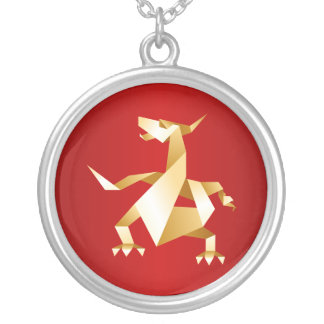 Gold Origami Year of the Dragon on Red 2012 Round Pendant Necklace