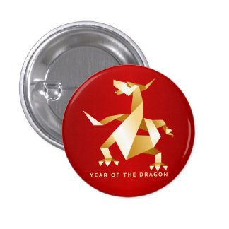 Gold Origami Year of the Dragon on Red Button