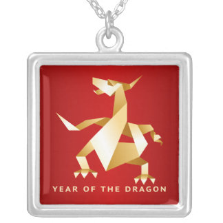 Gold Origami Year of the Dragon on Red Square Pendant Necklace