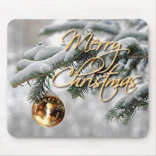 GOLD ORNAMENT & FIR BOUGH by SHARON SHARPE Mouse Pad