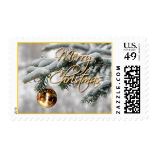 GOLD ORNAMENT & FIR BOUGH by SHARON SHARPE Postage