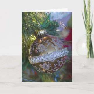 Gold Ornament Thank You Card card