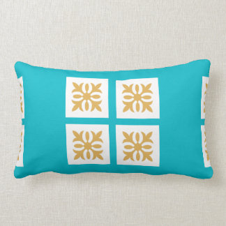 Gold Ornament with a Blue Boarder Lumbar Pillow