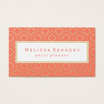 Professional Business Gold Ornamental Pattern Business Cards Coral