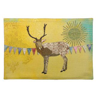 Gold Ornate Buck Sunshine  Placemat Cloth Place Mat
