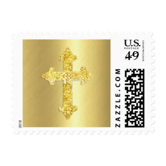 Gold Ornate Cross Postage