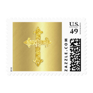 Gold Ornate Cross Postage at Zazzle